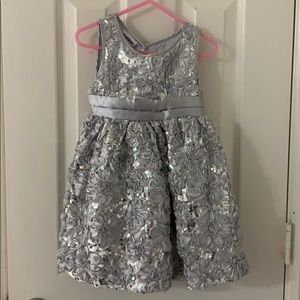 Girls' Silver Sequined Party Dress